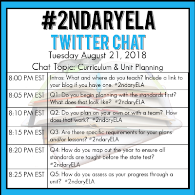 Join secondary English Language Arts teachers Tuesday evenings at 8 pm EST on Twitter. This week's chat will be about curriculum and unit planning.
