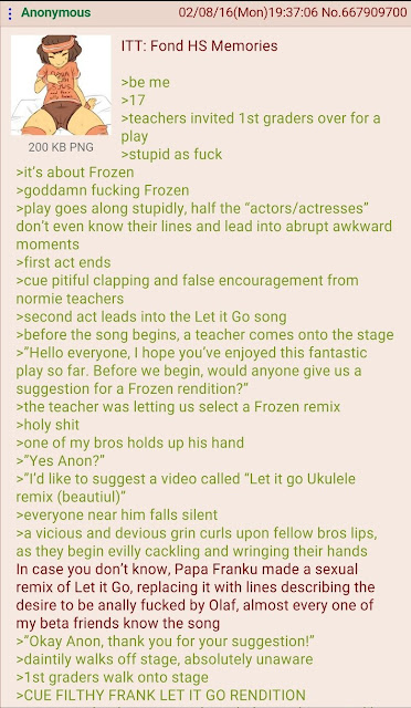 Funny greentext about a dirty rendition of the song from Frozen