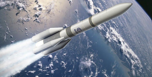 Artist's view of the Ariane 6 four boosters configuration (A64). Credit: ESA–David Ducros, 2015