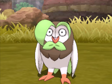Dartrix evolved middle evolution Rowlet surprised shocked astonished taken aback Pokémon Sun Moon Alola grass starter