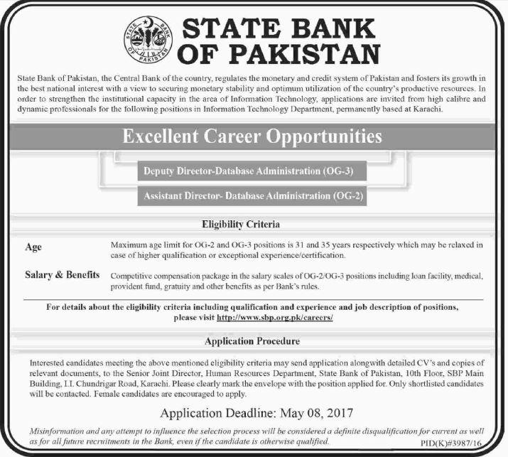 State Bank of Pakistan Jobs 2017, Deputy Director Data Base ...