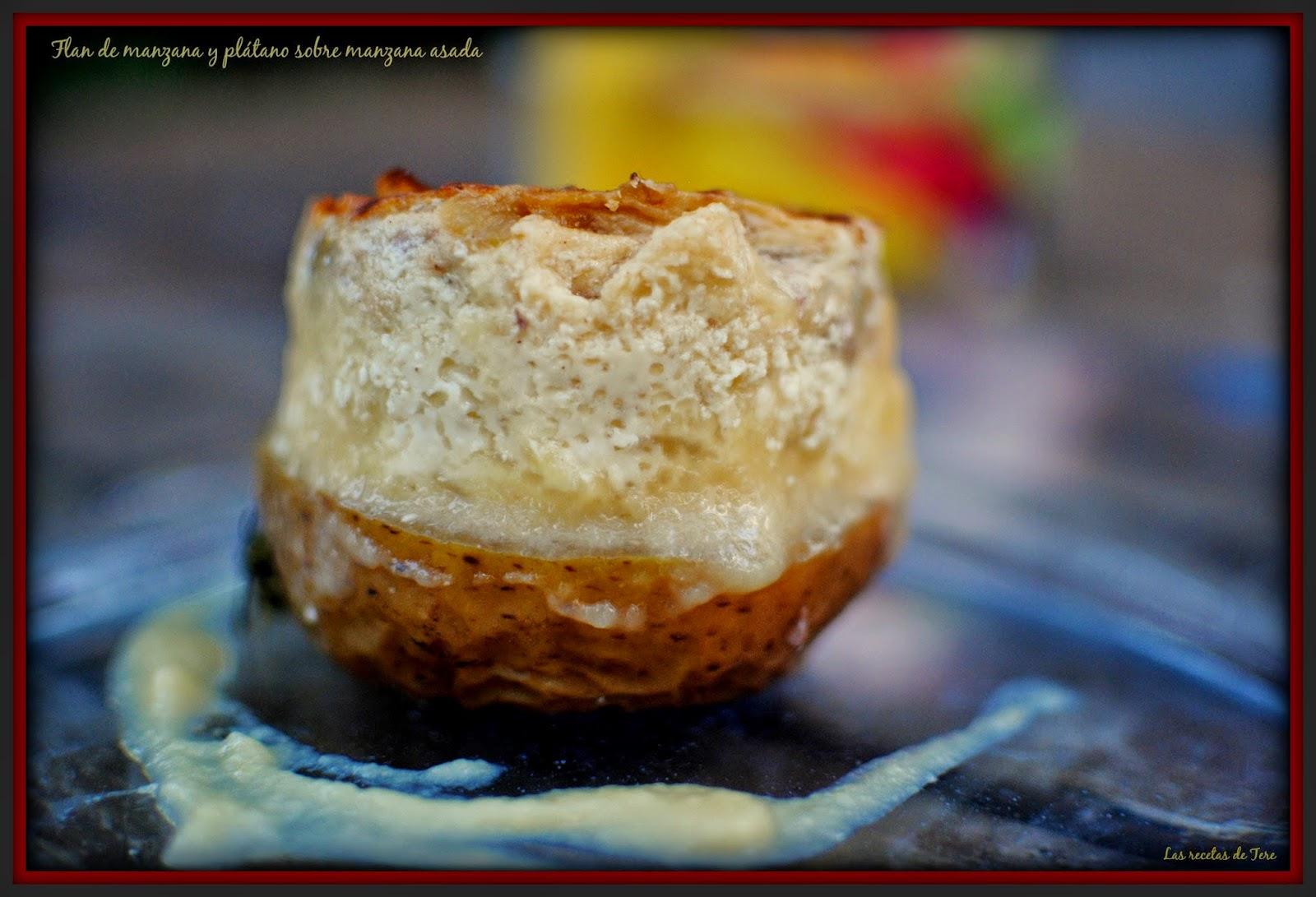 Flan de manzana y plátano sobre manzana asada 03
