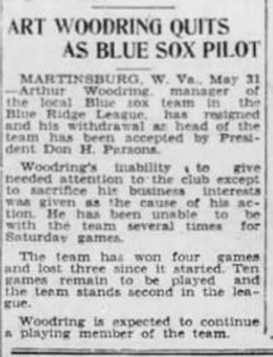 Woody's resignation as manager of Blue Sox 1934 https://jollettetc.blogspot.com