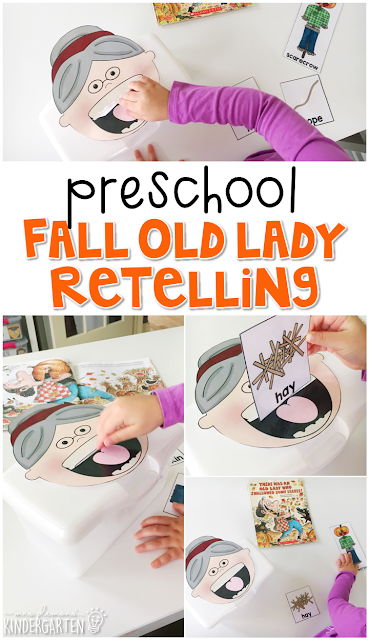 Work on retelling skills with these fun props from There Was an Old Lady Who Swallowed Some Leaves. Preschoolers will love feeding all the silly object to the old lady and retelling the surprise ending. Great for tot school, preschool, or even kindergarten!