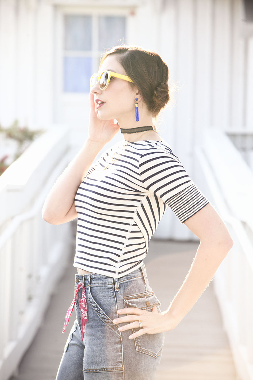 Amy West in Twiggy sunglasses from Anthropologie