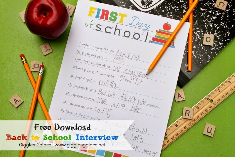 Printable Back To School Interview Questions