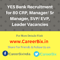 YES Bank Recruitment for 80 CRP, Manager/ Sr Manager, SVP/ EVP, Leader Vacancies