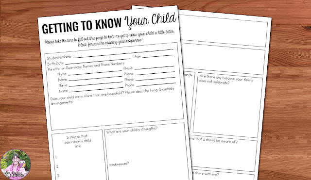 "Papers on a desk that say, ""Getting To Know Your child."""