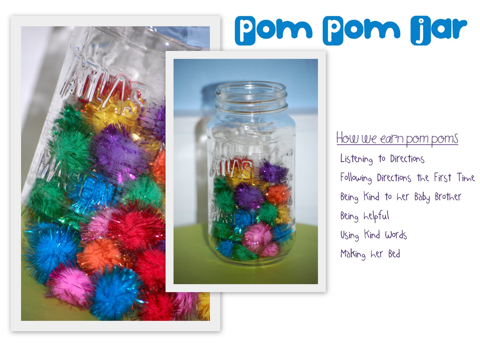 Our Pom Pom Jar What Behavior Reward Systems Work At Your House Simply Sprout
