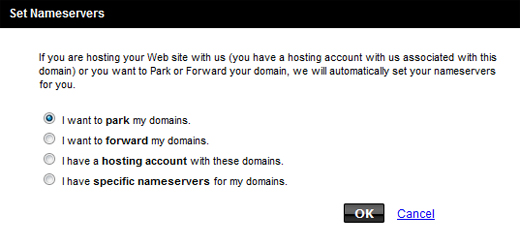 Parking domain name at GoDaddy-select parking