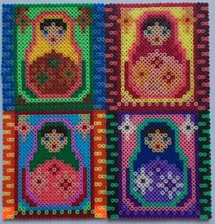 Mini Hama beads tiled Russian Dolls picture