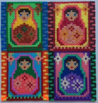 Mini Hama bead Russian Dolls tiled picture