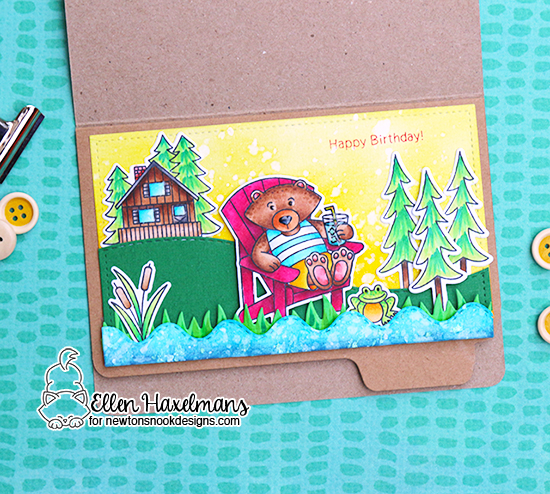 Interactive Birthday Card by Ellen Haxelmans | Winston's Lake House Stamp Set by Newton's Nook Designs #newtonsnook