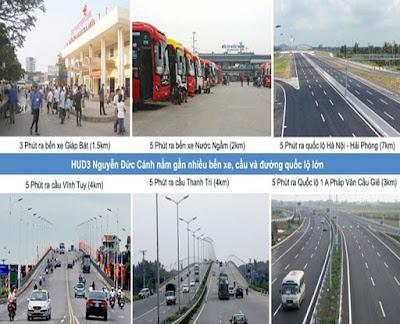 Các bến xe, đường Giao thông khu vực chung cư Hud3 Nguyễn Đức Cảnh