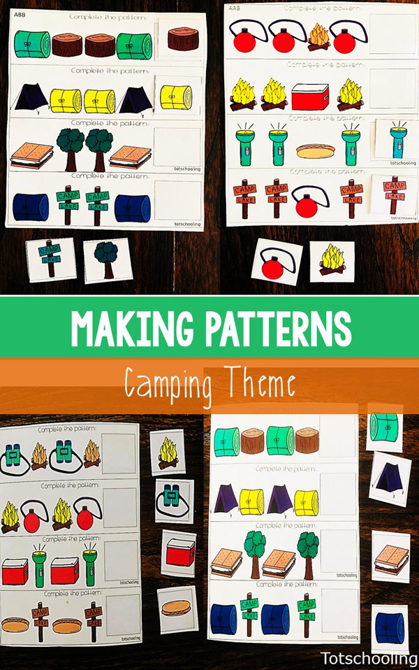 FREE printable Camping themed pattern sheets for preschool kids. Perfect for different skill levels and can be differentiated easily. Fun math activity for camping fans!