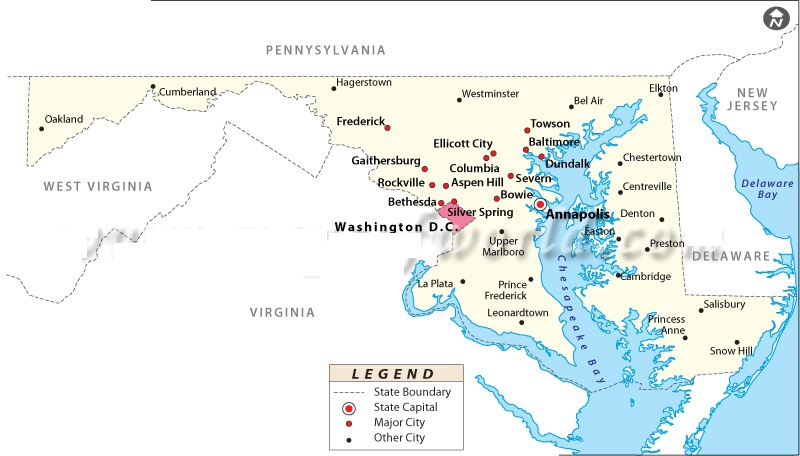 Map of Maryland State Map of USA