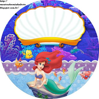 The Little Mermaid Birthday Free Printable Cupcake Wrappers and Toppers.
