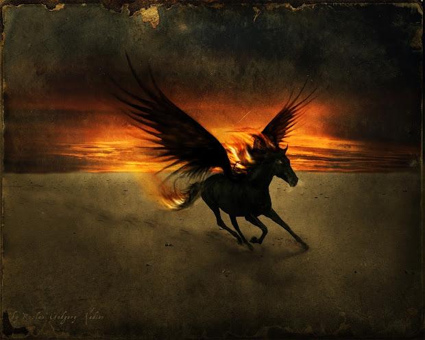 Dark Pegasus Horse