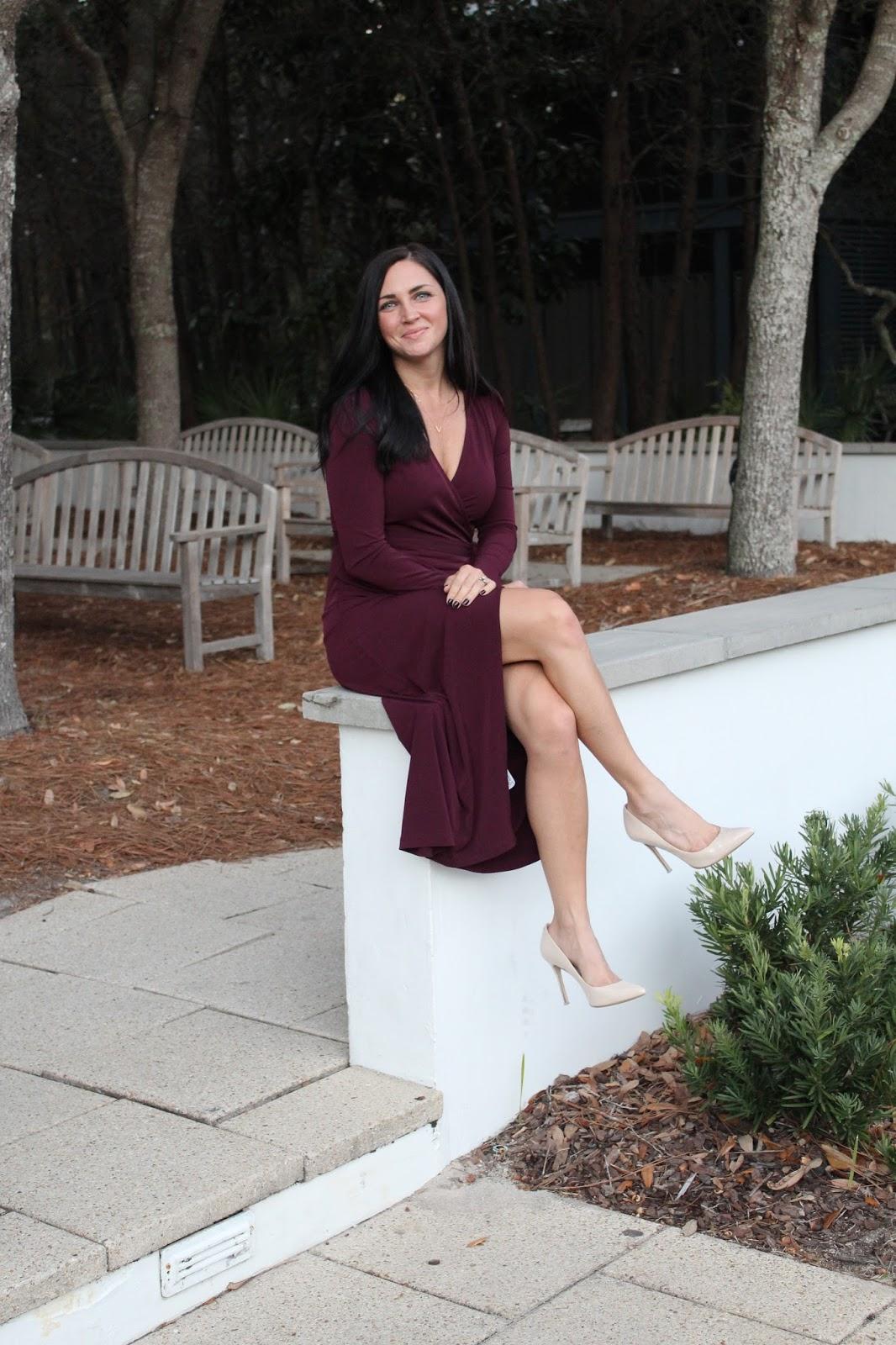 Nude Heels, Burgundy Dress, Christmas Party Outfit, Seaside, FL