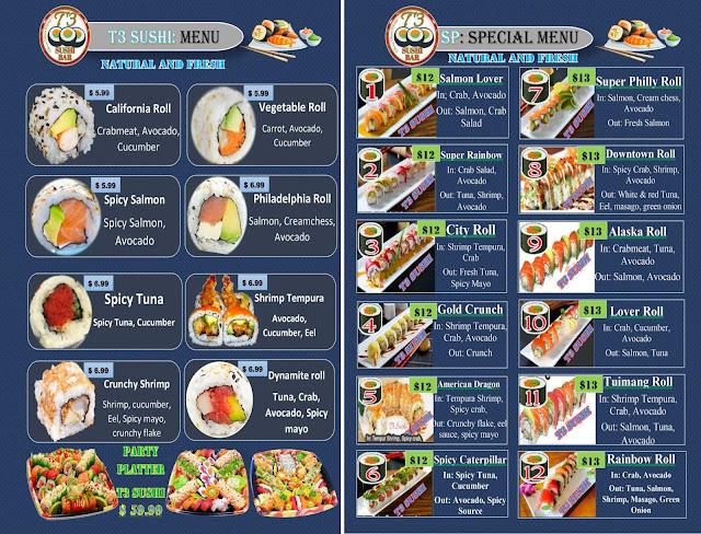 T3 Sushi Menu