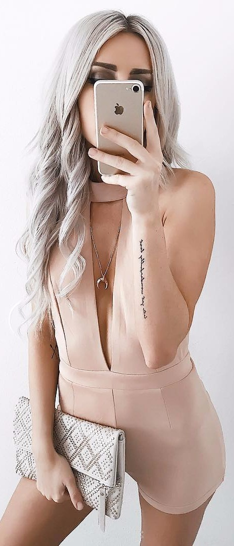 nude romper / the cutest outfit ever