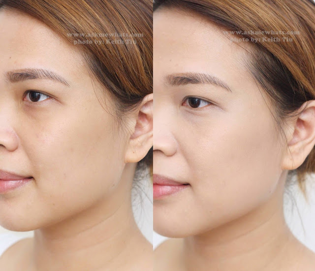 a before and after photo of Max FactorX Miracle Match Foundation in Natural