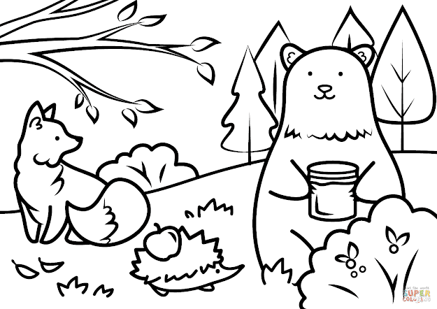 Click The Autumn Animals Coloring Pages To View Printable Version Or Color  It Online Patible With Ipad And Android Tablets