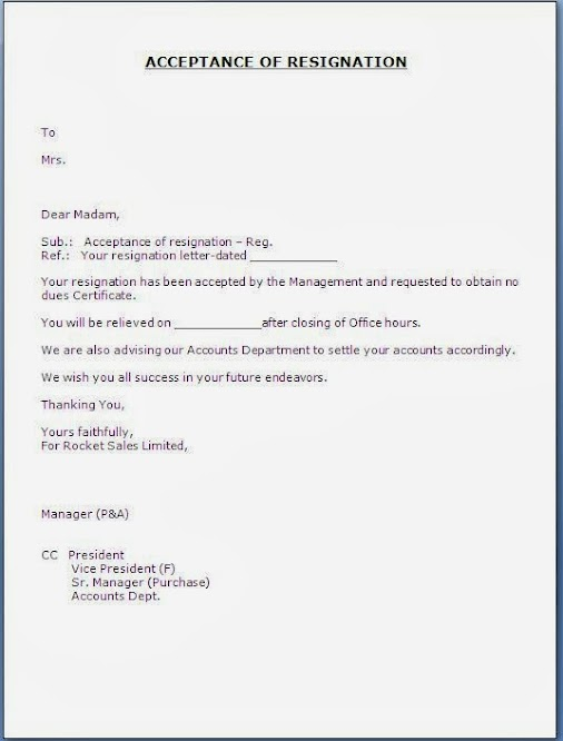 Format of acceptance of resignation letter. Essay Help