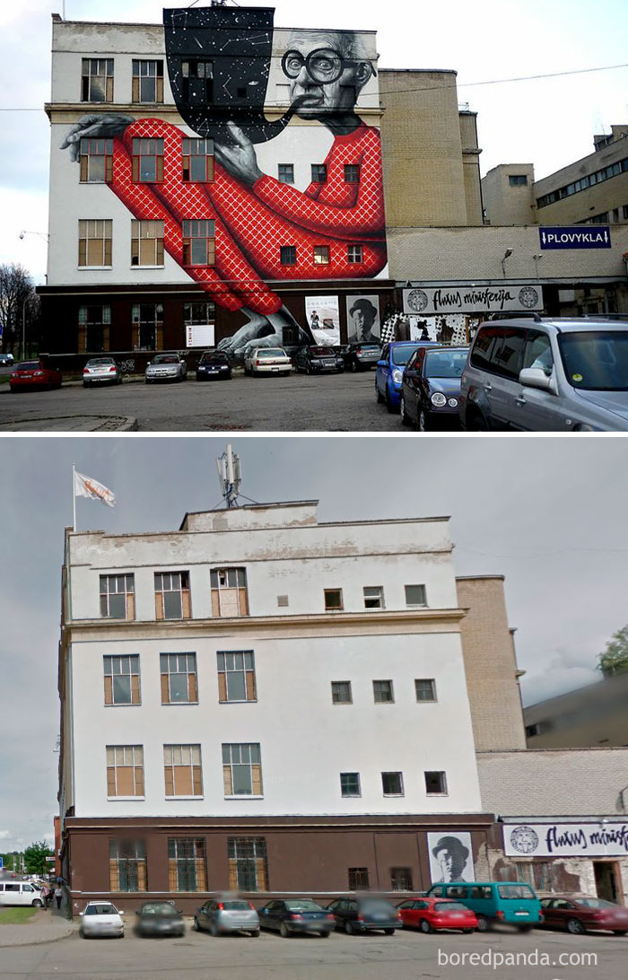 10+ Incredible Before & After Street Art Transformations That'll Make You Say Wow - Wise Grandpa, Kaunas, Lithuania