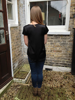 Diary of a Chainstitcher Black Hammered Silk Grainline Studio Scout Tee with Dip Hem