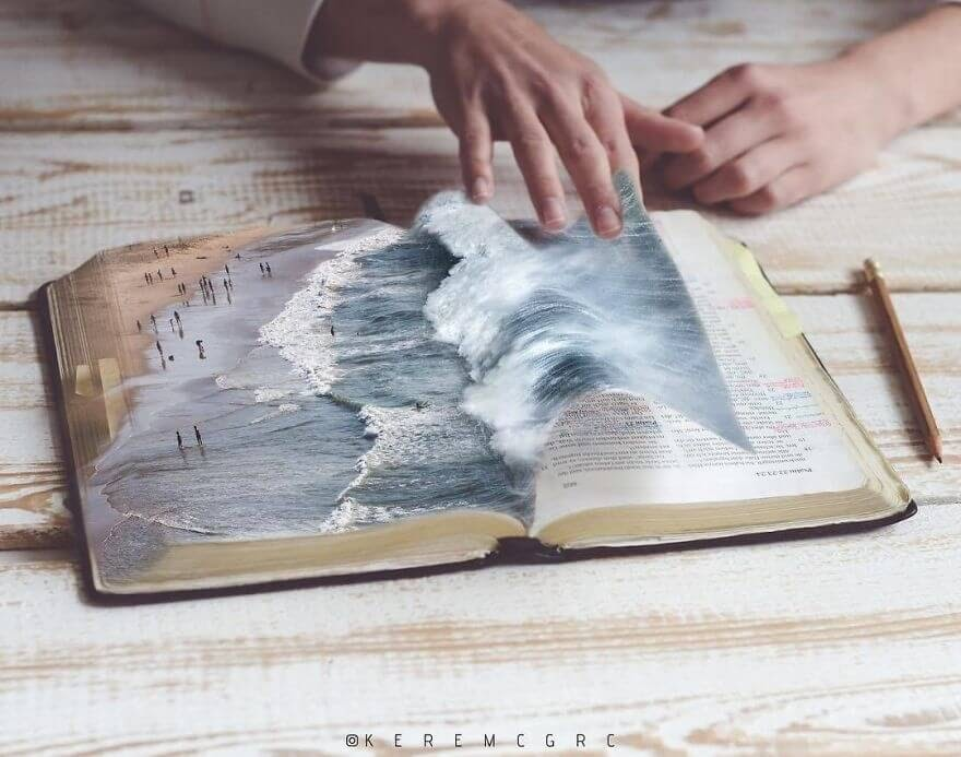 08-The-Ocean-in-the-pages-of-a-Book-Kerem-Ciğerci-Surrealism-in-Manipulated-Photographs-www-designstack-co