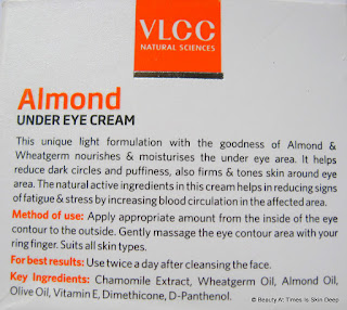 VLCC Almond Under Eye Cream Ingredients
