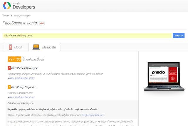 Ehliblog Pagespeed Ekran Görüntüsü