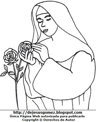 Dibujo de Isabel Flores de Oliva cuidando rosas para colorear para niños. Imagen de Isabel Flores de Oliva hecho por Jesus Gómez