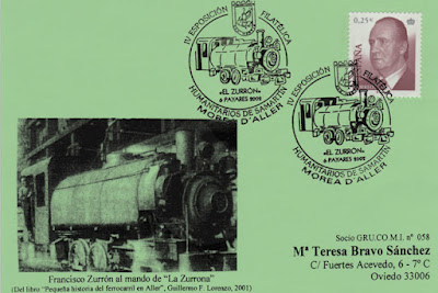 """Tarjeta del matasellos de los Humanitarios de San Martín de Moreda homenajeando a la locomotora """"El Zurrón"""""""