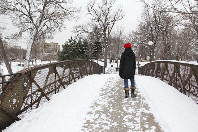 Red cap on a white bridge