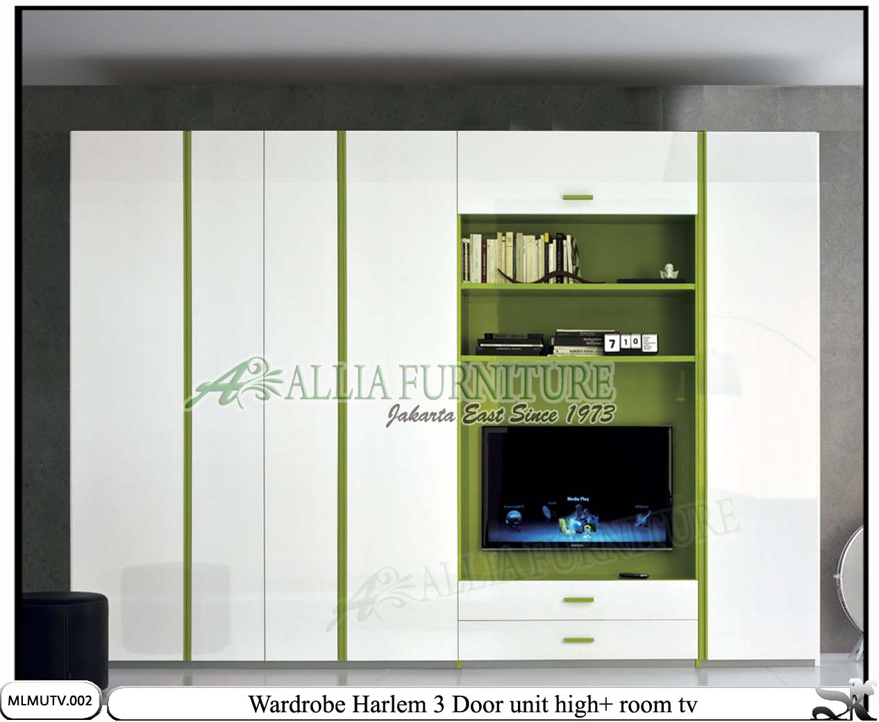 Kombinasi Warna Cat Lemari Interior Rumah Pakaian Baju Rak Kain Minimalis Modern Tv Harlem Allia Furniture