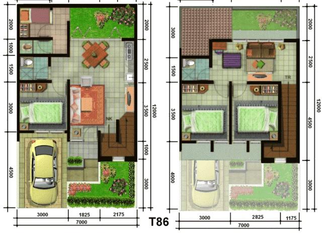 denah rumah minimalis ukuran 5 x 12 meter yang memukau