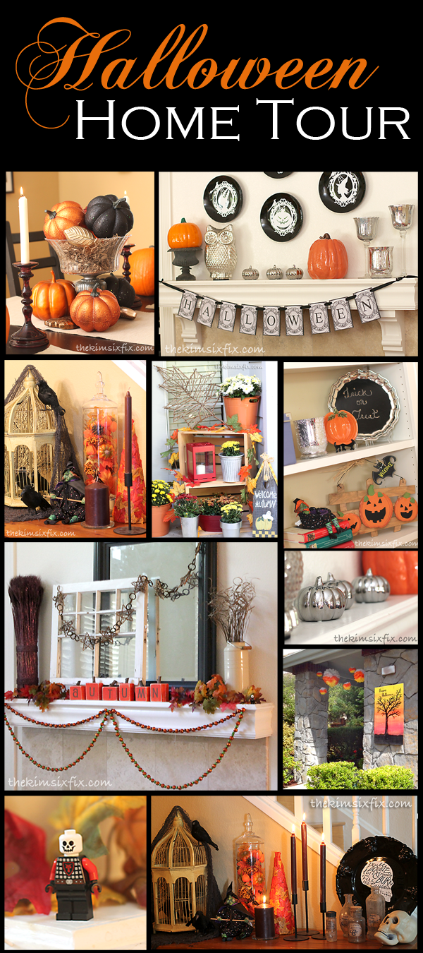 Halloween House tour where she decorates with things that can be easily changed to use after Halloween is over