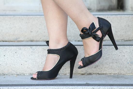 Betsey Johnson Black Peep-Toe Heels