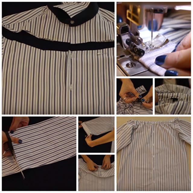 Step By Step Cara DIY Baju Kemeja Lama Jadi Blouse Yang Comel