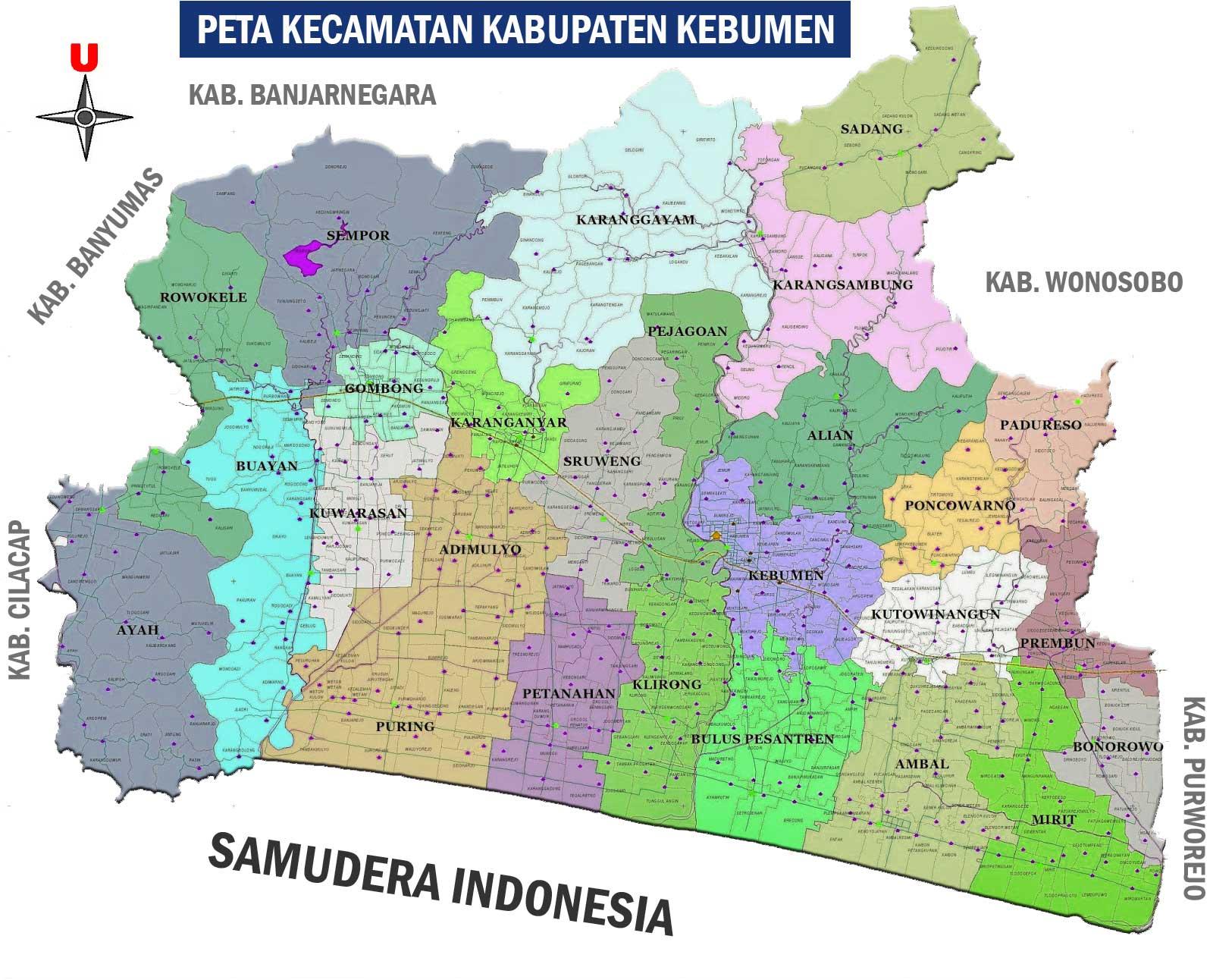 Gambar Peta Kecamatan Kabupaten Kebumen