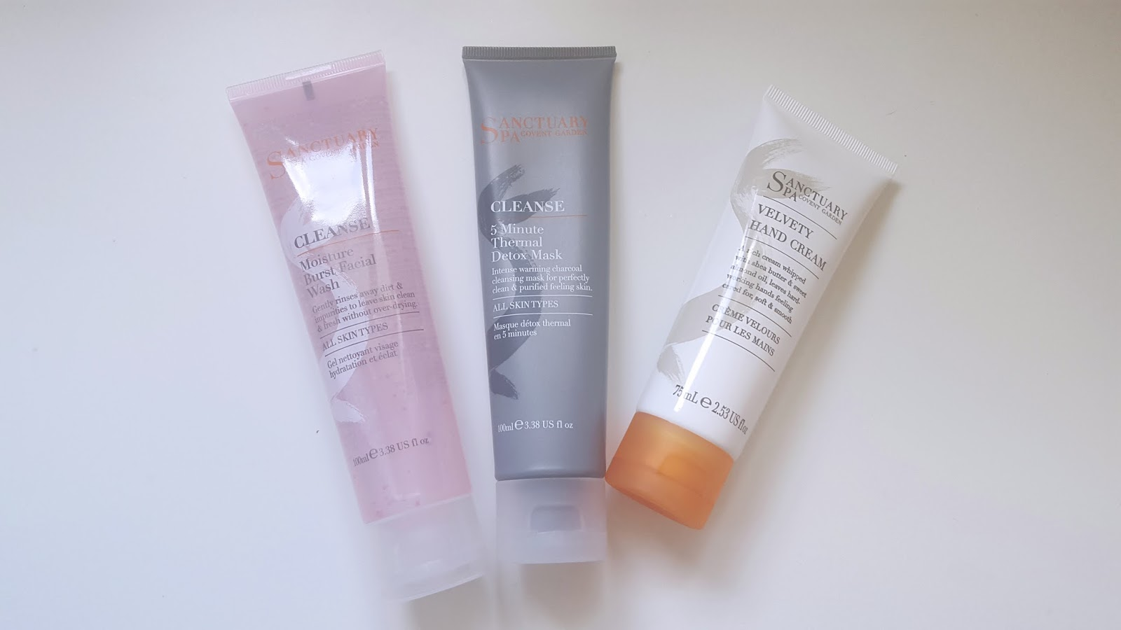 Sanctuary Spa Moisture Burst Facial Wash 5 Minute Theraml Detox Mask Velvety Hand Cream