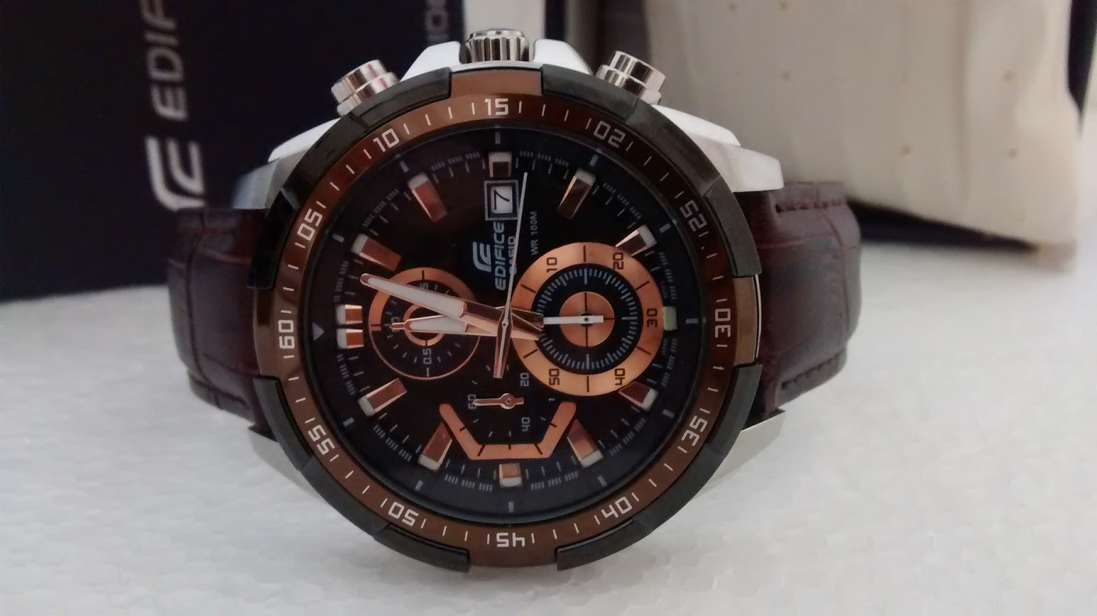 063cf56a2366da Rs2150 Only Leather Edifice EFR 539 Brown Chrono | 70% Discount ...