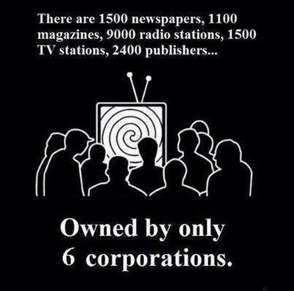 Image:  Persons staring at spiraling image on TV.  Caption:  There are 1500 newspapers, 1100 magazines, 9000 radio stations, 1400 TV stations, 2400 publishers owned by only 6 corporations.