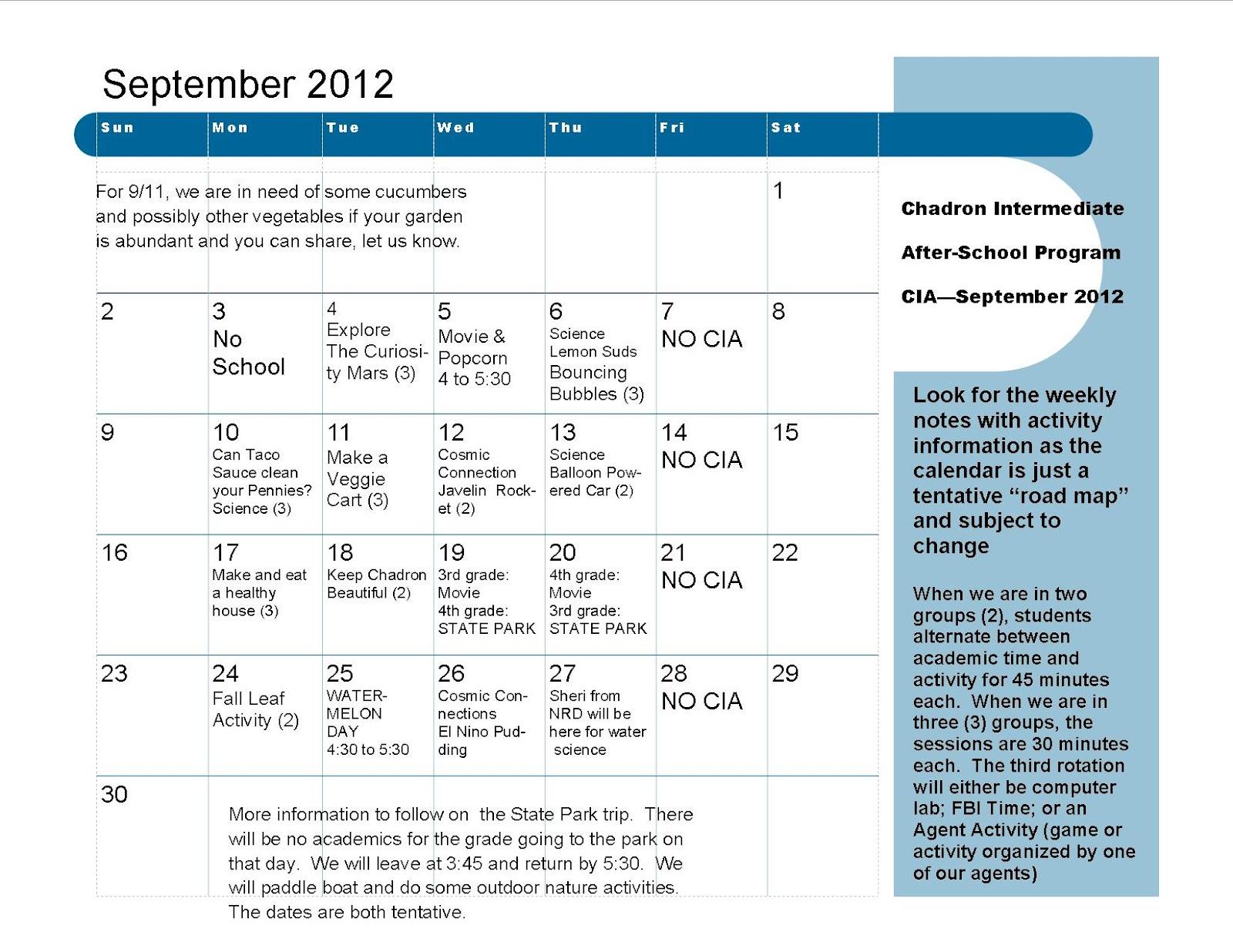 September Cia Activity Calendar