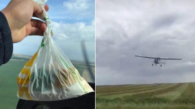 Piloto arroja almuerzo para amigo en medio de granja