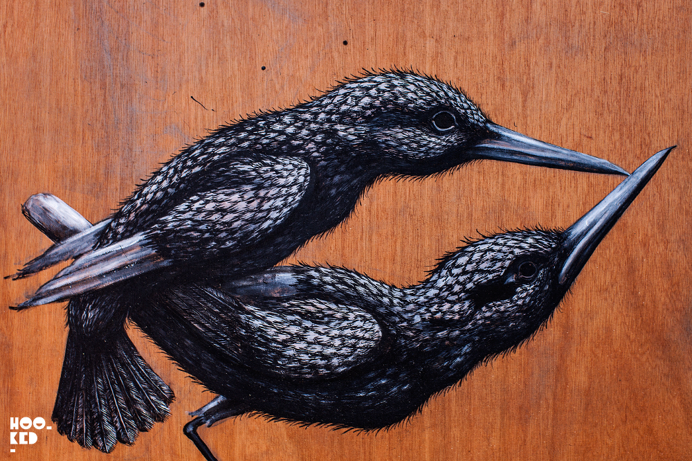 Details of two ROA birds from a work from his Cataclysm exhibition