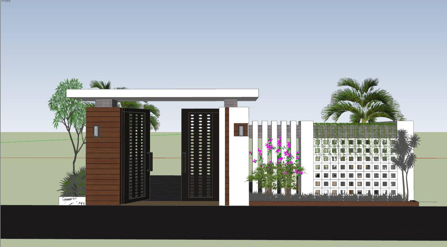 thiết kế mặt đứng cổng tường rào hiện đại