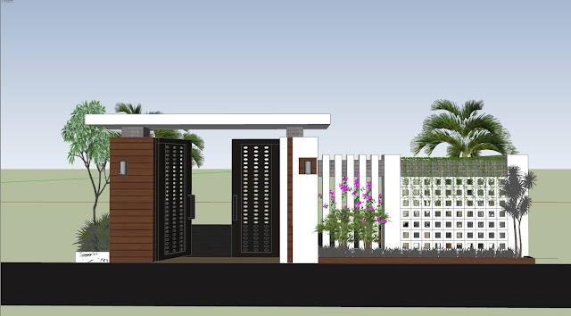 File sketch up thiết kế cổng tường rào hiện đại 8,4 mét